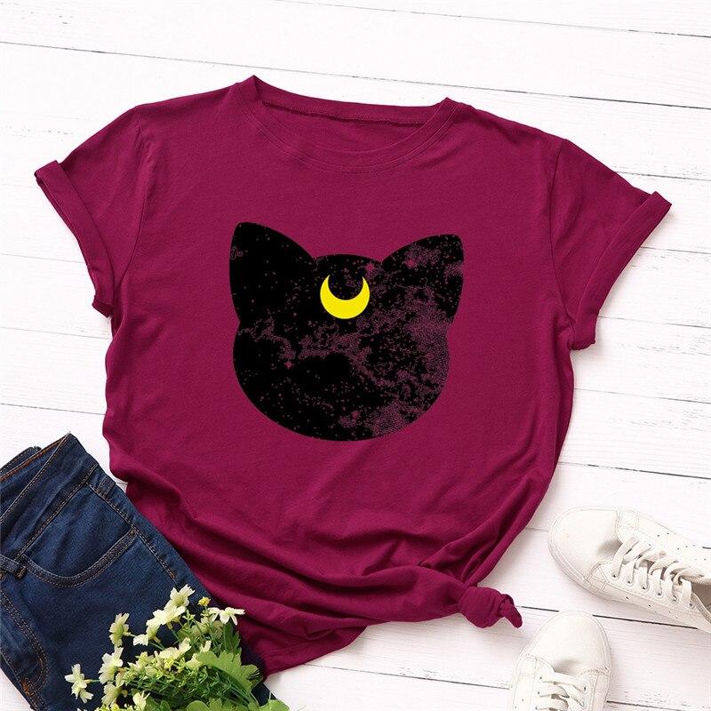 Plus Size S-5XL New Cat Moon Print T Shirt Women 100%Cotton O Neck Short Sleeve Summer TShirt Tops T Shirts Funny T Shirts