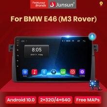 Junsun v1 android 10.0 ai controle de voz rádio do carro multimidia player vídeo gps para bmw e46 coupe (m3 rover) 316i 318i nenhum 2din dvd