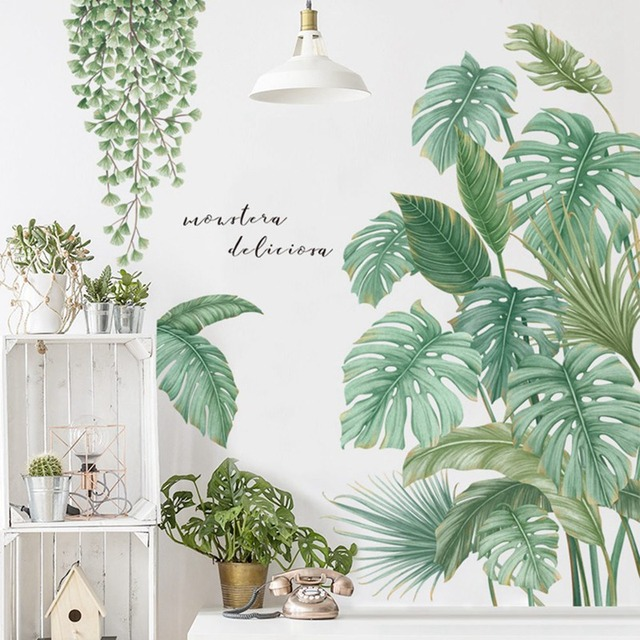 1Pc DIY Tropical Palm Leaves Wall Sticker Modern Art Decal Vinyl Mural Wall Stickers For Kids Rooms Home Decor 1