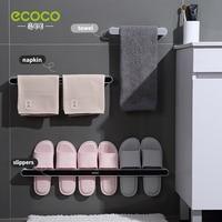 ECOCO Nahtlose Nagel-freies Badezimmer Wand Hängen Wc Hausschuhe Handtuch Regal Bad Wand-montiert Lagerung Bad Handtücher Rack