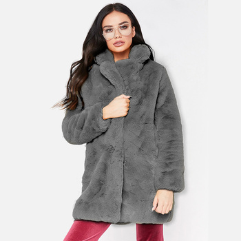 Solid Faux Fur Women's Coats Turn Down Collar Long Sleeve Female Overcoats 2020 Autumn Winter Casual Loose Fashion Ladies Tops