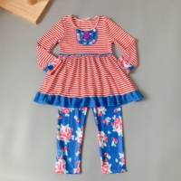 red stripes long sleeve dress and blue flower pants set Ruffle Stitching Pink Stripe Baby Outfits Girls Sets