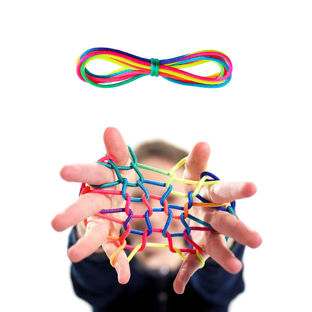 6Pcs/lot 165cm Cradle String Finger Game Rainbow Finger Rope Coloured Thread Toy Rope Finger String Puzzle Create Toy
