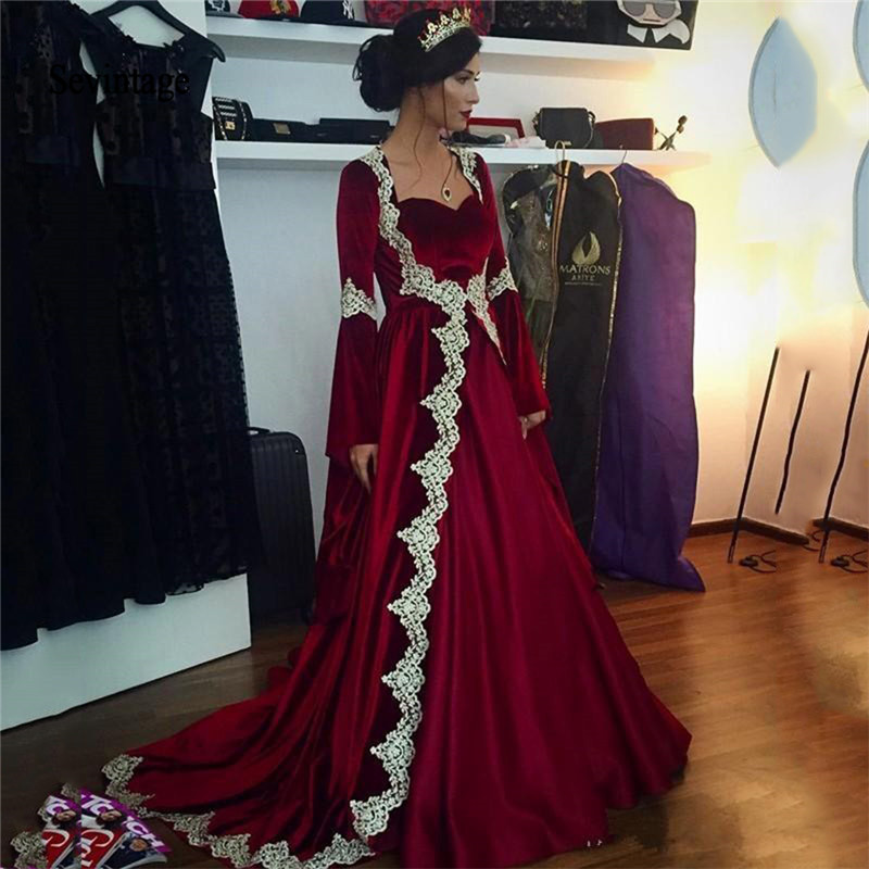Sevintage Burgundy Velvet Muslim Evening Dresses Long Flare Sleeves Lace Applique Saudi Arabic Formal Woman Party Dress