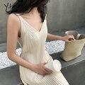 Yitimoky женский трикотаж ребристые свитера 2020 женские с v-образным вырезом черные уличные вязаные свитера платье женские тонкие бежевые Пулов...