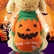 Животное домашнее животное Хэллоуин домашнее животное щенок оранжевый Тыква толстовки Одежда для собак костюм дропшиппинг 36#0731