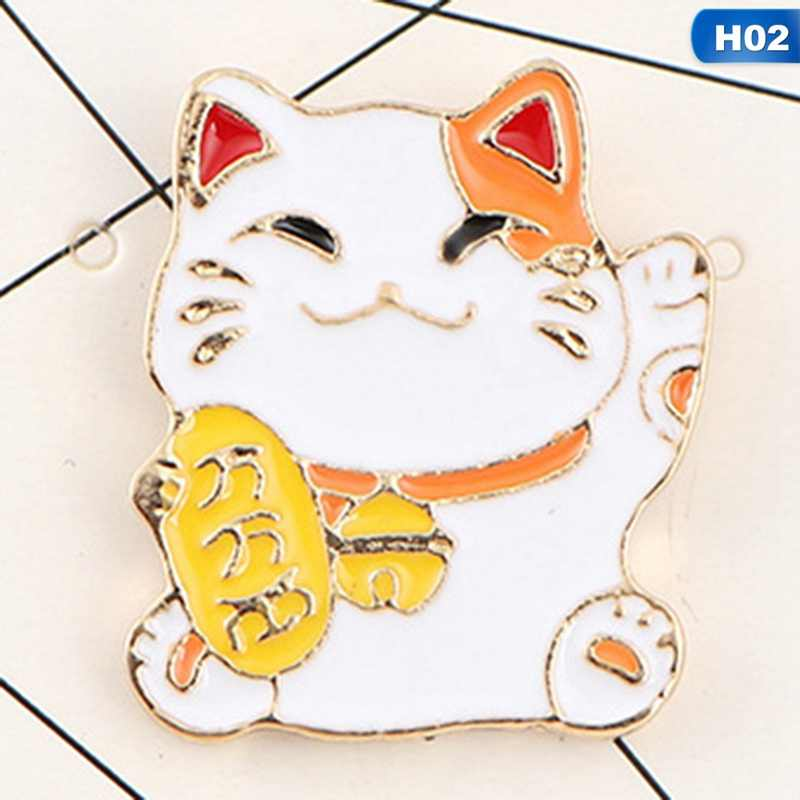 Cute Lucky Cat Enamel Pins Fortune Lucky Cats Brooches Collar Deniem Shirts Corsage Lapel Pin Backpack Bags Badge Jewelry Gift