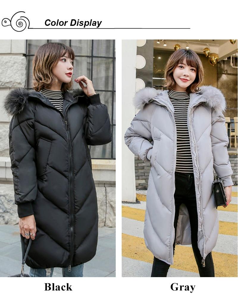 2019 High Quality Winter Jacket Women Hooded Fur Collar Warm Thicken F_A1_2