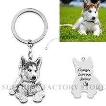 Gepersonaliseerde Huisdier Sleutelhanger Foto Custom Sieraden 925 Sterling Zilveren Aandenken Geheugen Sleutelhanger Graveren Hond Kat Tag Portret