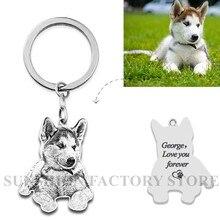 Kişiselleştirilmiş Pet anahtarlık fotoğraf özel takı 925 ayar gümüş keepsake bellek anahtarlık Engrave köpek kedi etiketi portre
