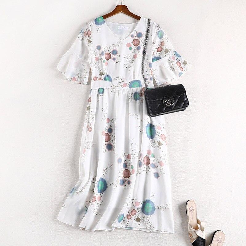 Lan Mu Square Chubby Sister Mm Dress 2019 New Style Summer Waist Hugging Slimming Large Size WOMEN'S Dress 10613