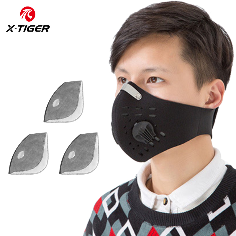 X-TIGER Antiviral Protection Mask PM 2.5 Anti-Pollution Bike Face Mask Activated Carbon Breathing Valve Mask With Filter