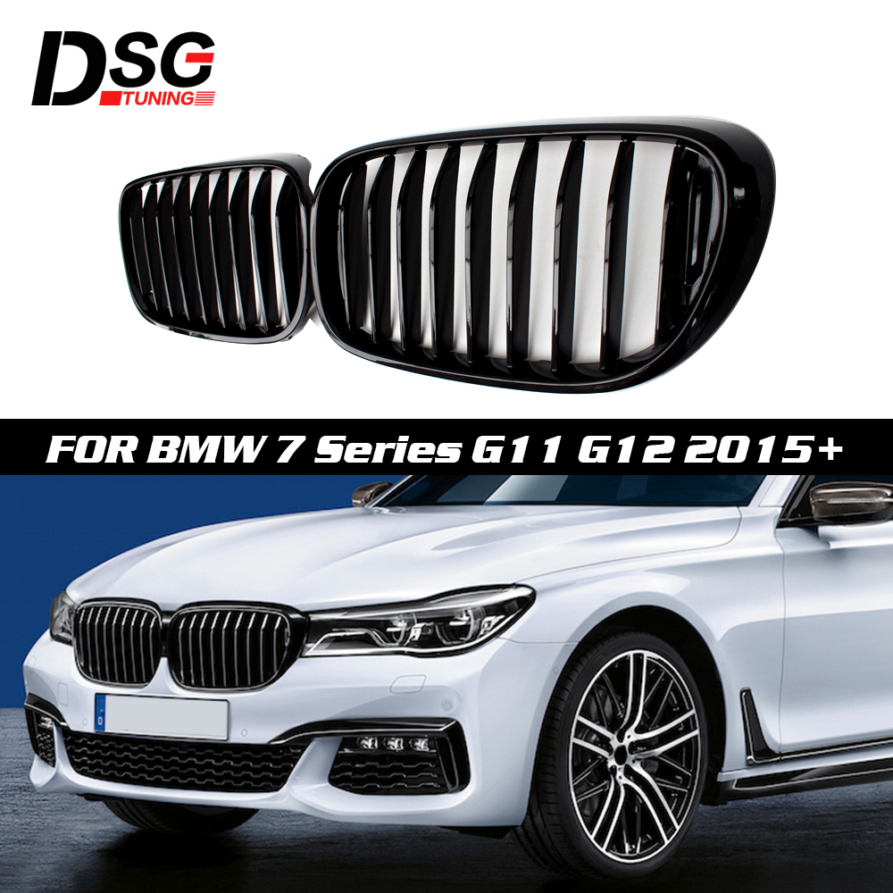 Kidney Grille For BMW 7 Series G11 G12 2015+ Single Slat Gloss Black Racing Grills image