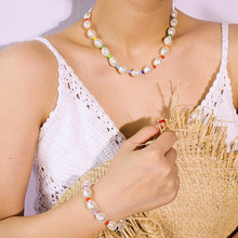 Salircon Multilayer Colorful Beads Choker Necklace Collar Fashion White Imitation Pearl Clavicle Chain Necklace 2019 Women Gift fringed crystal necklace clavicle chain female moon imitation pearl multilayer necklace luxury personality ladies collar jewelry