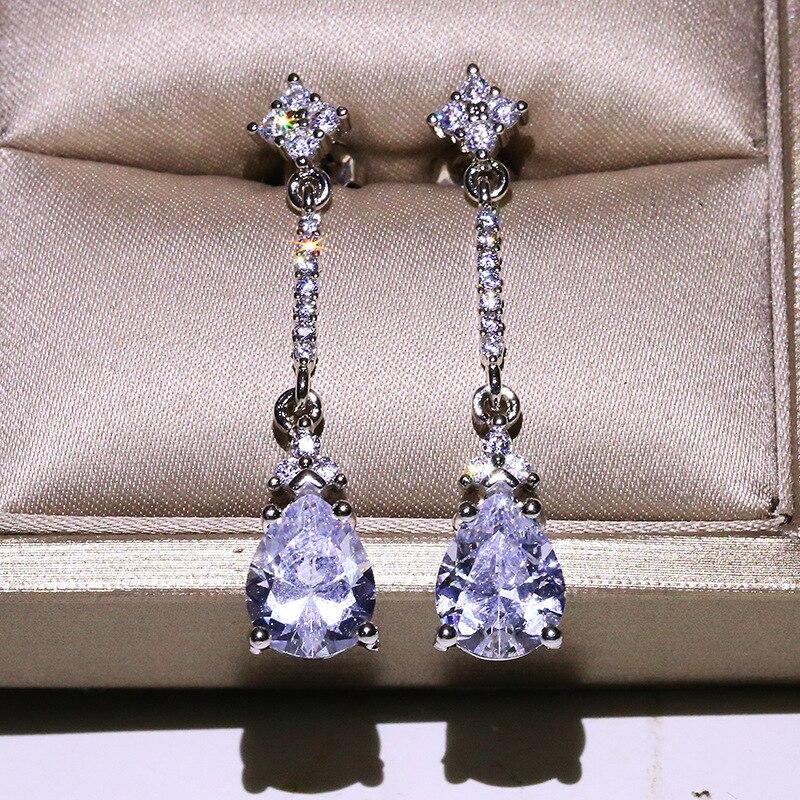 Classic Female Geometric Zircon Stud Earrings Cute Silver Color Wedding Earrings Fashion Bride Long Crystal Earrings For Women
