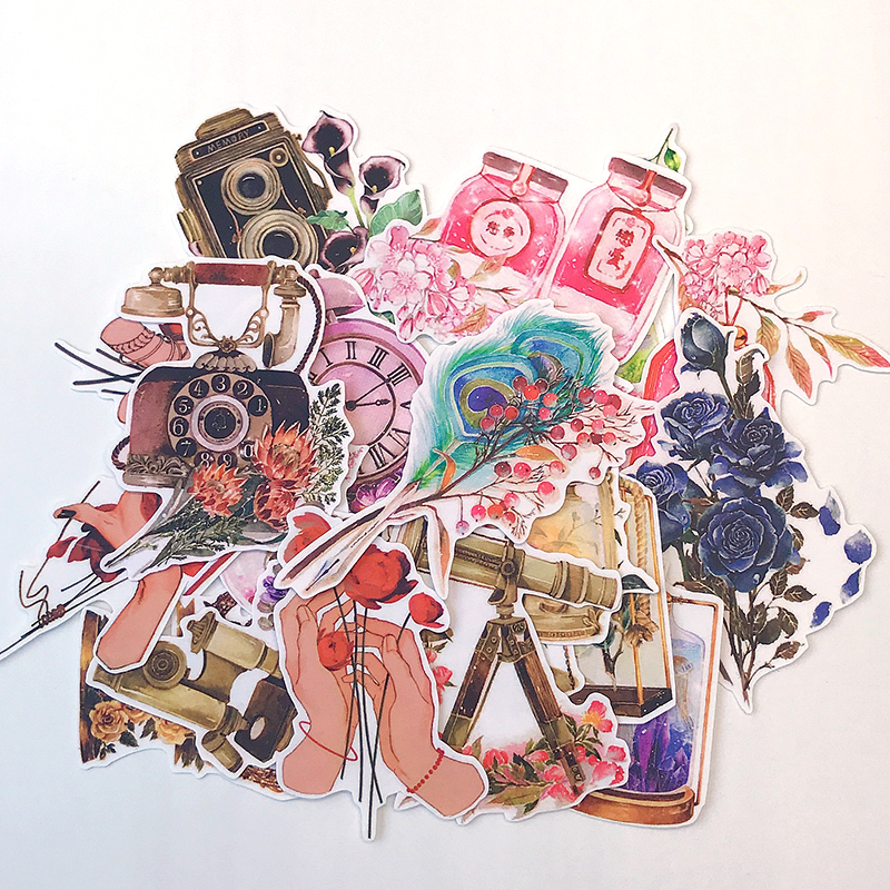 22pcs / Bag Vintage Flowers Old Objects Sticker Pack DIY Scrapbooking Album Diary Phone Computer Happy Plan Decoration Sticker