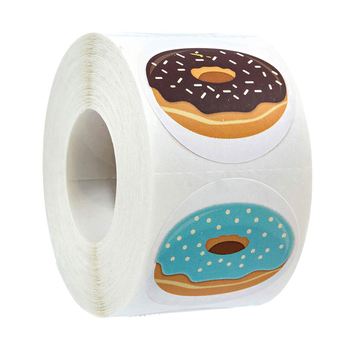 50-500pcs Stickers Stylish Donut 8 Designs Delicious Looking Handmade white labels stickers for Cake bread baking