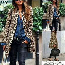 Plus Size 5XL Fashion Women Leopard Print Blazers Jackets Work Office Lady
