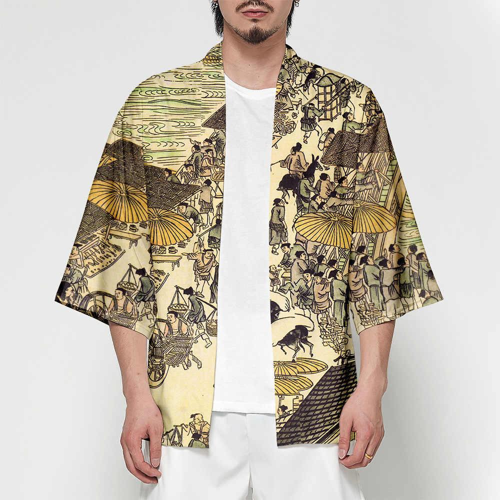 Japanischen Batwing Hülse Haori Yukata Kimono Sommer kimono Strickjacke männer Streetwear 3D t hemd Kran Sushi samurai kostüm Kimono