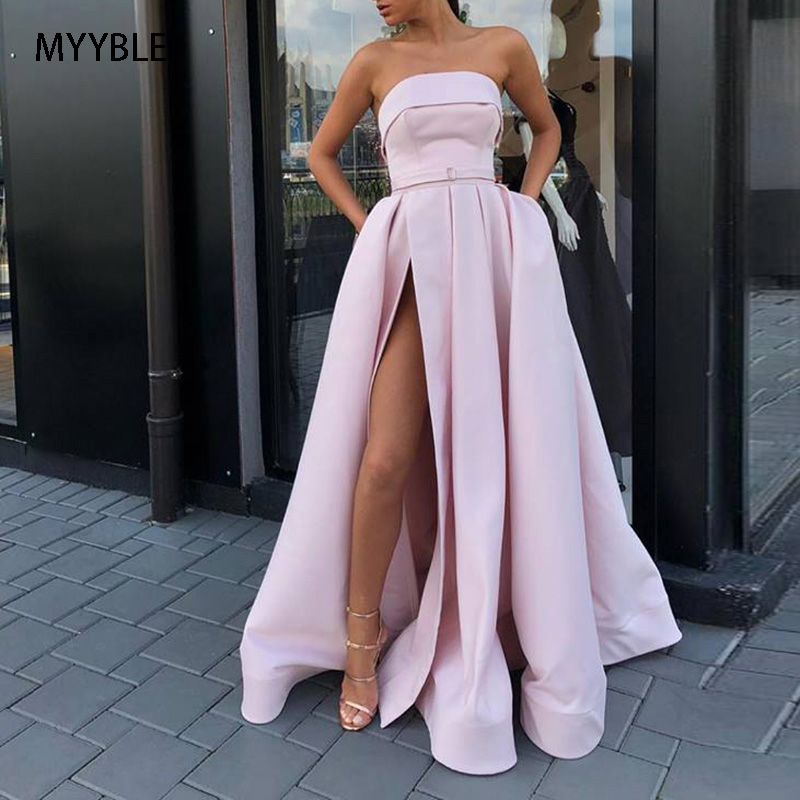 MYYBLE Strapless Vestido De Festa Evening Dress Long 2020 Formal Dress Women Elegant Satin Side Slit Party Dresses Evening Gown