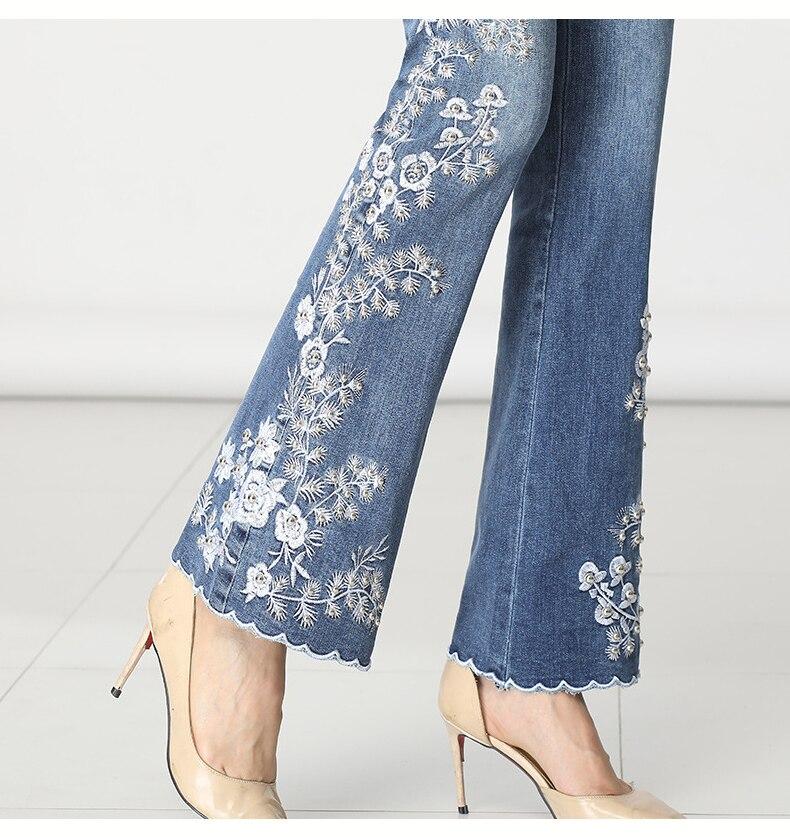 KSTUN FERZIGE Women Jeans High Waist Embroidered Floral Beads Desinger Bell Bottom Stretch Flared Pants Women's Clothes Big Size 36 18