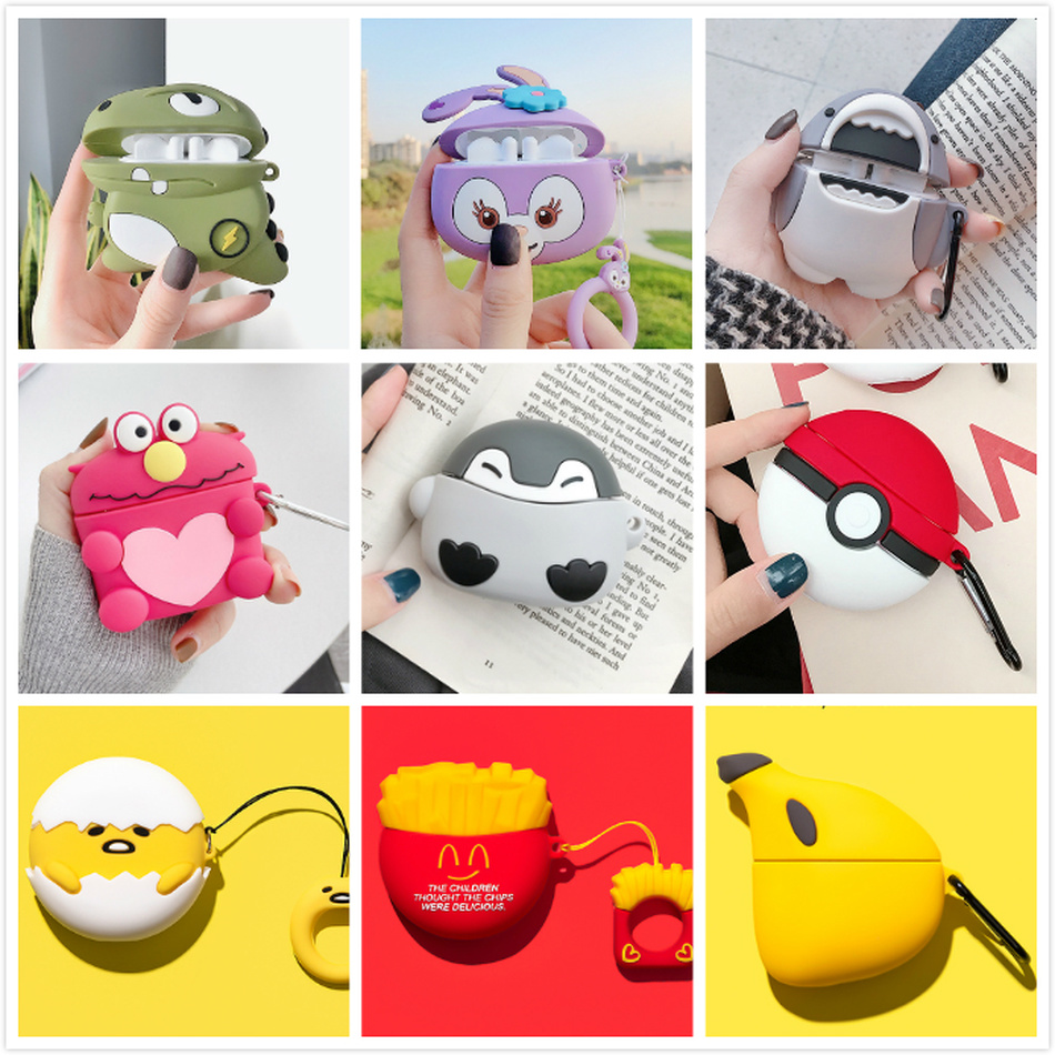 Cartoon Earphone Case For Huawei Freebuds 3 Case Cute Bear Dinosaur Dog Silicone Cover For Huawei Freebuds 3 Pro Cases Keychain