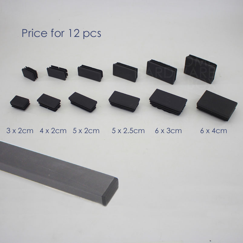 Tube End Caps 4 Pack Rectangular Tube Inserts 90mm x 40mm Plastic Inserts