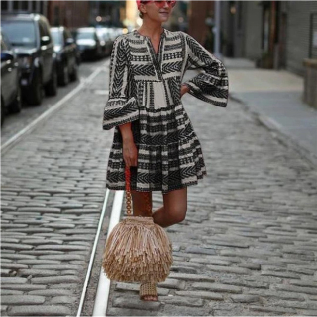 Women Summer Boho Mini Striped Printing Dress 2021 Flare Sleeve Flowy Beach Party Plus Size Fashion Casual V-Neck Loose Dresses 3