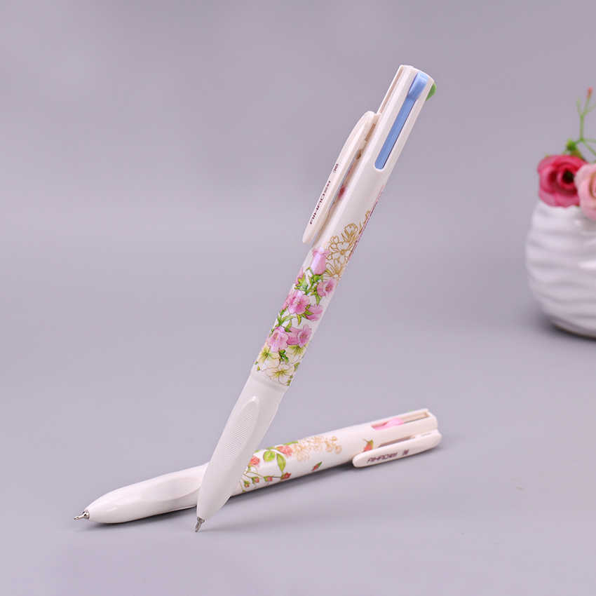 1PC 4 In 1 Colored Ballpoint Pen Floral Pens Kawaii Stationery Writing Pens 0.5mm Office School Supplies