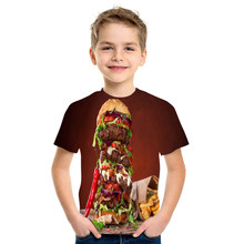 2021 summer new 3D printed T-shirt abstract pattern quick-drying girls and boys clothing loose and comfortable 4T-16T size