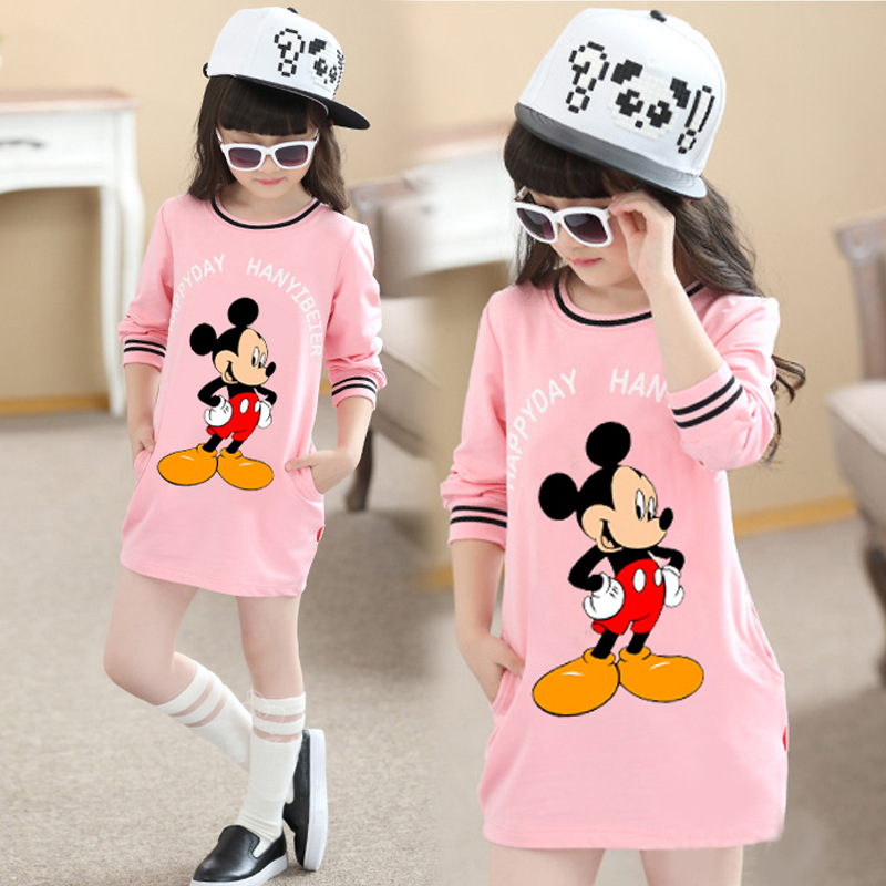 3-10Y Child Baby Girls Warm Dress Autumn/Winter Cartoon Mickey Long Sleeve Mini Stright Dresses Girls Fashion Dress Clothes