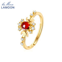 LAMOON 925 Sterling Silver Ring Garnet Gemstone Ring For Women 9K Gold Plated Fine Jewelry Designer Jewelry Moon Ring LMRI090(China)