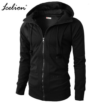 IceLion 2019 Casual Hoodies Men Zipper Spring Winter Fashion Sweatshirts  Cardigan Sportswear Solid Slim Male Tracksuit