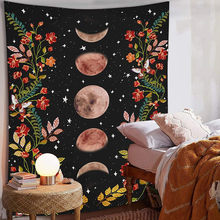 Psychedelic Moon Starry Tapestry Flower Wall Hanging Room Sky Carpet Dorm Tapestries Art Home Decoration Accessories(China)