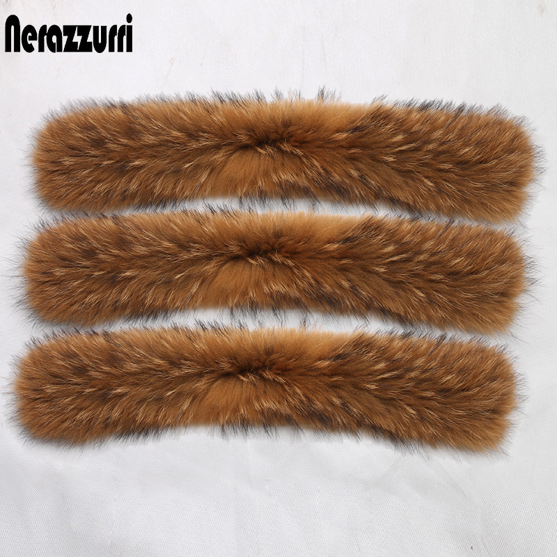 Nerazzurri Natural Real Raccoon Fur Collar Scarf For Women Detachable Collar Warm Accessories Genuine Fur Scarves For Hood Trim