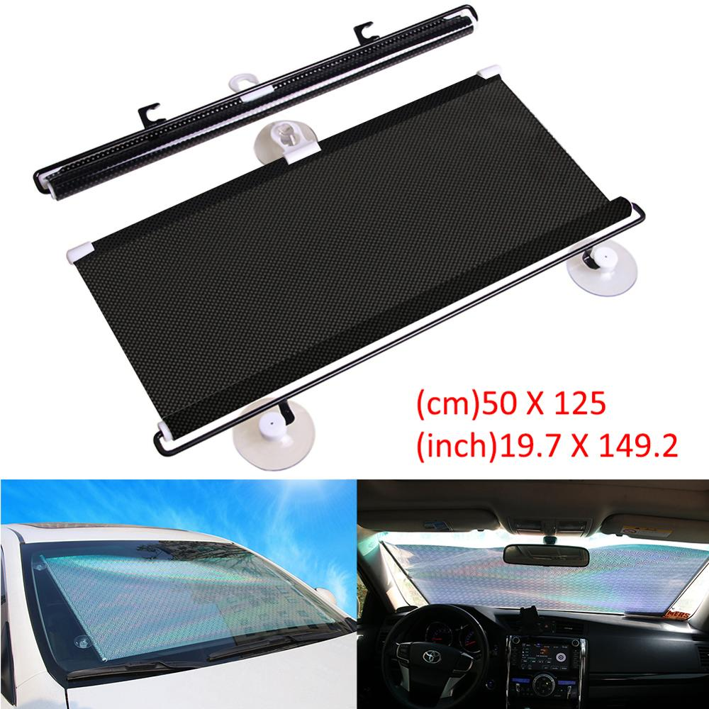 Car Retractable Windshield Anti-UV Car Window Shade Car Front Sun Block Auto Rear Window Foldable Sunshade Curtain Protection