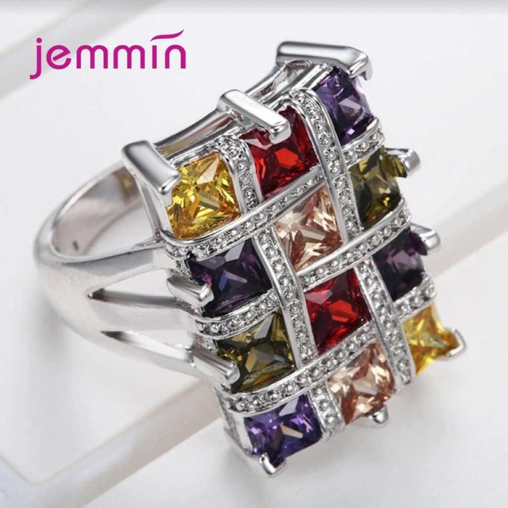 Boutique mujeres 925 plata esterlina coloridos anillos geométricos cuadrado grande zirconia cúbica romántica promesa compromiso joyería