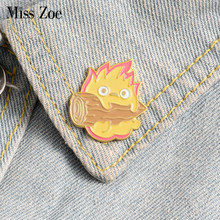 Calcifer Enamel Pin Custom Japanese Anime Brooches Fire Elf Badge for Bag Lapel Pin Buckle Howl Jewelry Gift for Friends