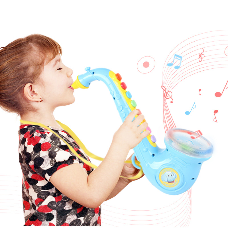 Toy Musical Instruments For Kid Children Saxophone Musical Toy Model Baby Early Learning Education Playsets Trumpet For Kid Gift