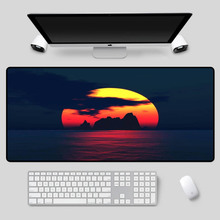 XGZ Exquisite large-size landscape mouse pad, sunset in sea series, as a table mat, high-quality rubber non-slip keyboard pad