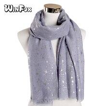 Winfox 2019 New Fashion Navy Grey Foil Sliver Star Print Scarves Shawls Muslim Wrap Scarf Muffler Islamic Hijab