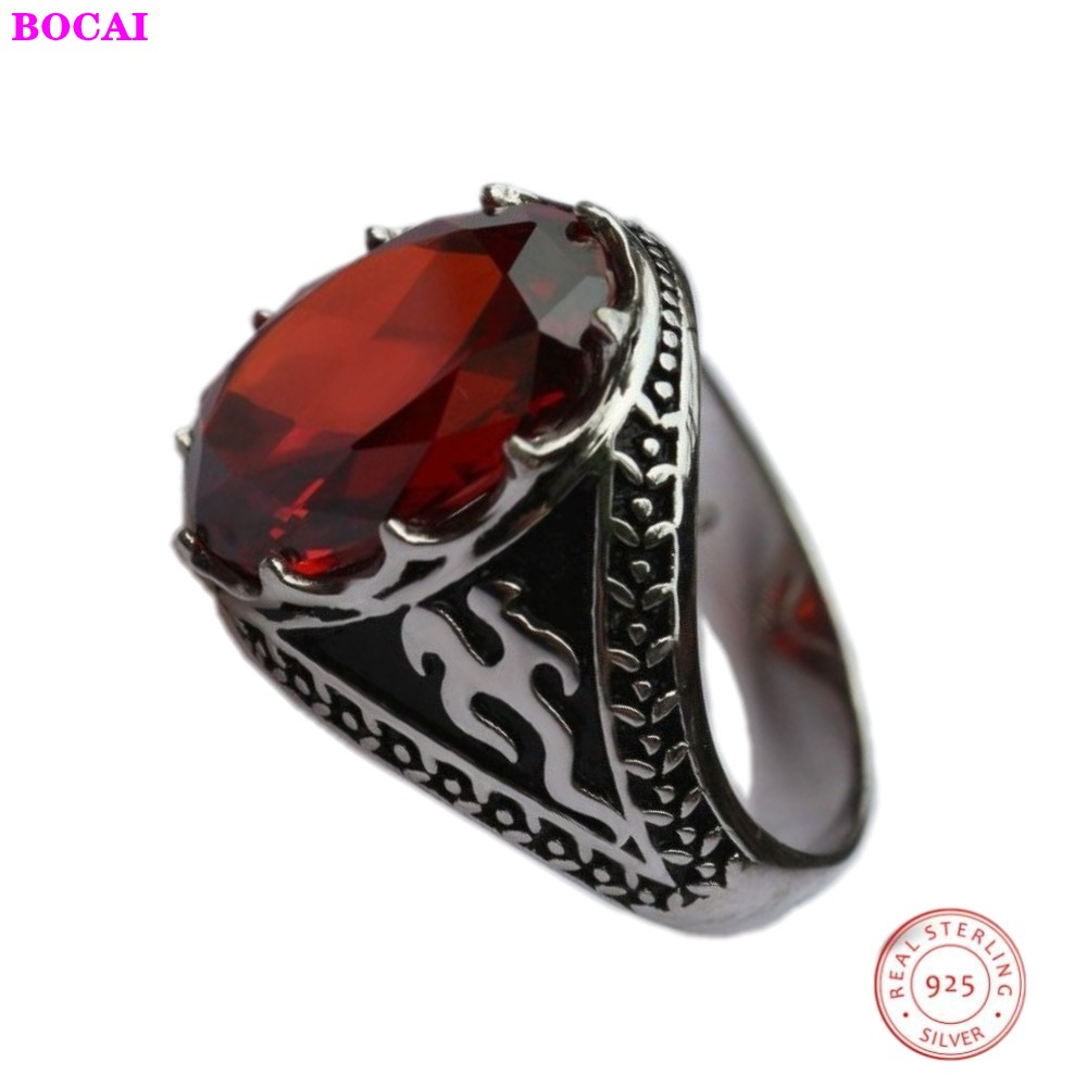 2020 New Fashion Classic Style Oval Natural Garnet Male Ring S925 Sterling Silver Men's Ring