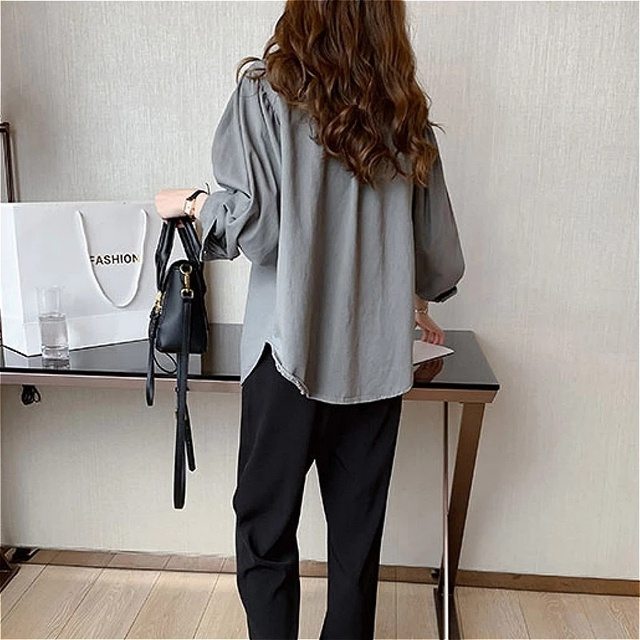 Blouses Shirts Women Spring Pockets Long Sleeve Fashion Solid Korean Style Loose Students Chic Womens Vintage Street Elegant New 6