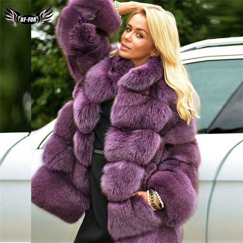 2019 New Real Fox Fur Coats For Women Winter Fashion Genuine Blue Fox Fur Jackets Stand Collar Natural Fur Coats Warm Outwear