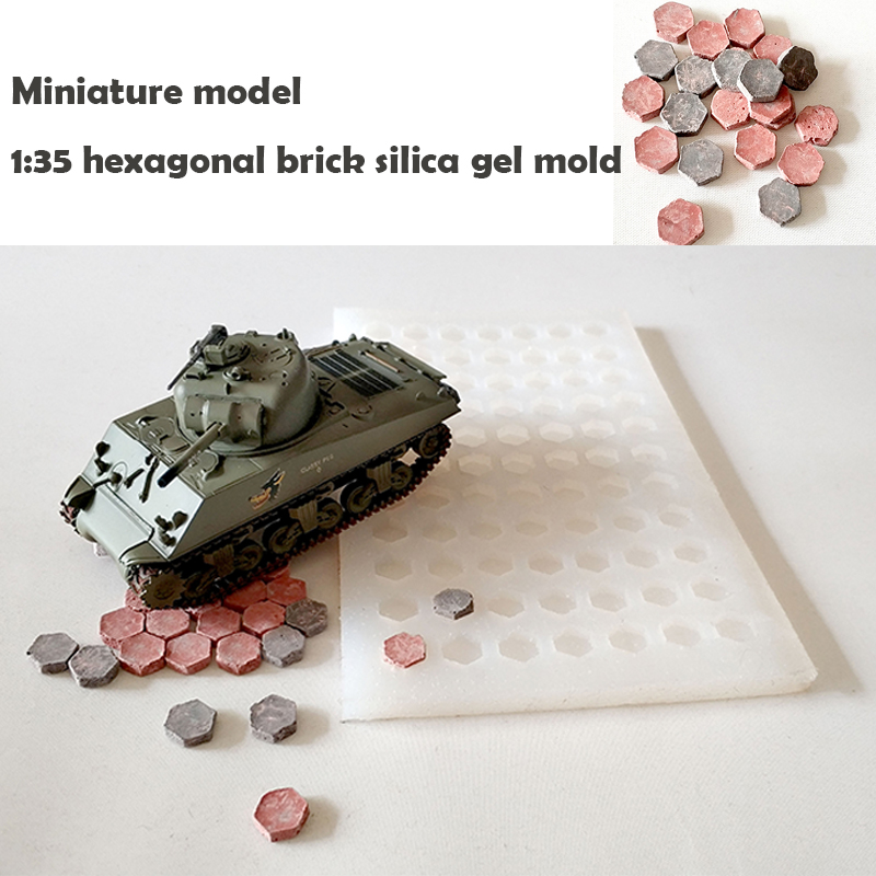 Miniature 1:35  Brick  Mould  Simulated Hexagonal Brick  Silicone Mold  Situational Sand Table Making Diy Material