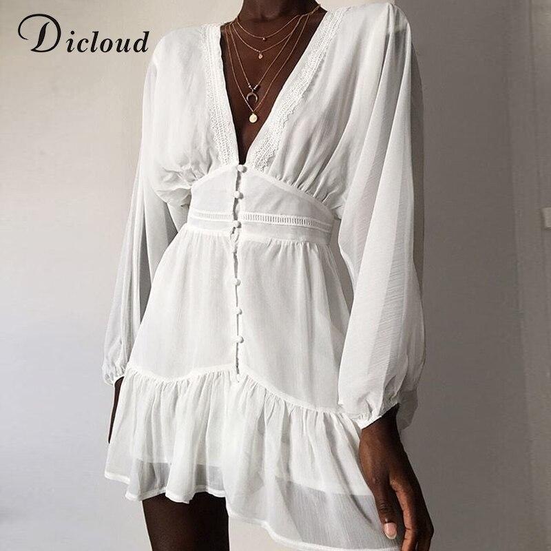 DICLOUD Сексуальное Женское летнее платье с глубоким v-образным вырезом, белое кружевное мини-платье с длинными рукавами, вечерние платья на но...