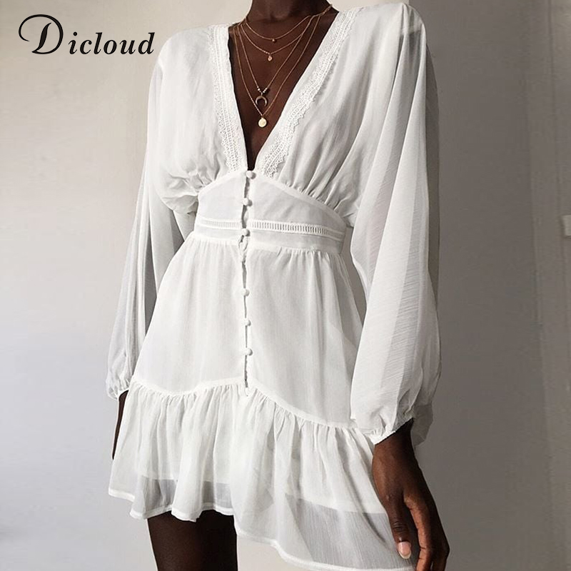 DICLOUD Sexy Plunge V Neck Women's Summer Dress White Lace Long Sleeve Mini Wedding Party Dress Ruffle Elegant Clothes 2021