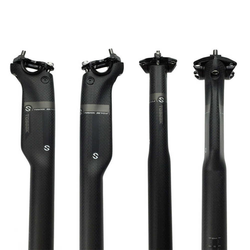 Quehan completo carbono fibra MTB Bicicleta De carretera tija De sillín Asiento Poste tubo 27,2/30,8/31,6mm Poste Para Asiento De Bicicleta Asiento De carbono
