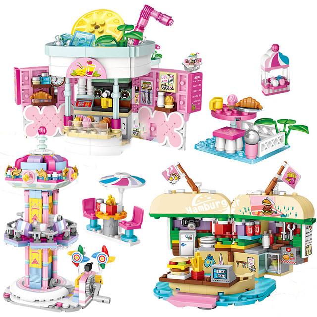 Amusement Park Mini Blocks Friends Ferris Wheel Carousel Pirate Ship Pirate Ship Building Blocks DIY Bricks Toys for Girls