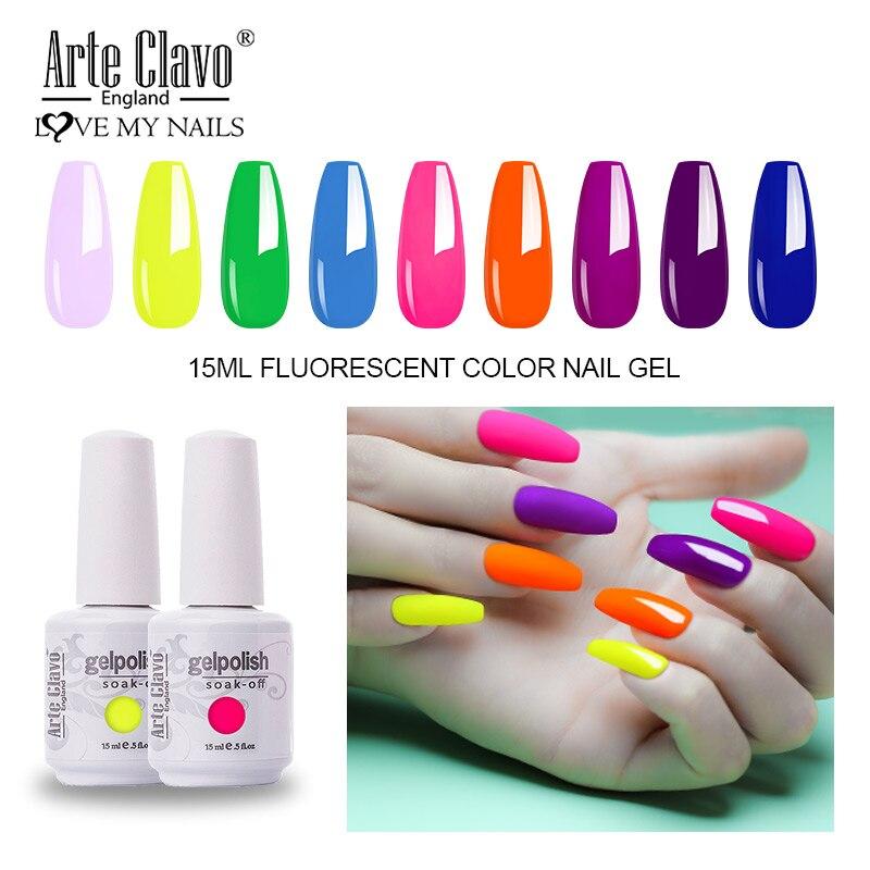 Arte Clavo 15ml Fluorescent Color Nail Gel Polish Fashion Long Lasting Nail Art Manicure Led Soak Off Neon Nail Lacqure Polish Mega Discount 1259c4 Cicig